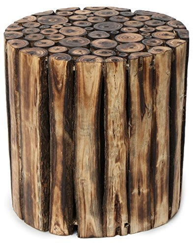 Onlineshoppee Wooden Round Shape Stool/Chair/Table Made From Natural Wood Blocks 10 Inch  available at amazon for Rs.999