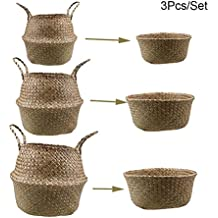 pcsset plegable de junco marino tejido cesta de con mango flores jarrn