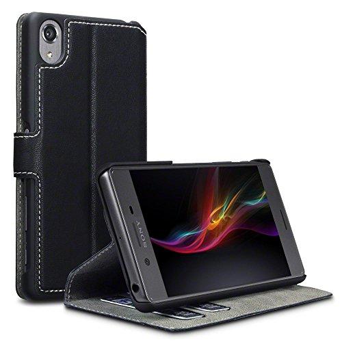 Sony Xperia X Case, Terrapin Leder Tasche Case Hülle im Bookstyle mit Standfunktion Kartenfächer für Sony Xperia X Hülle Schwarz