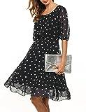 Meaneor Damen Elegantes Sommerkleid mit Tupfendessin transparentes Halbarm Chiffon Knielang festliches kleid Cocktail Party in Schwarz L 40