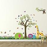 Walplus (TM) Wand-Sticker bunte Tiere britische Gras, Kinderzimmer, Kindergarten Kid', 188 cm x 156 cm, mehrfarbig