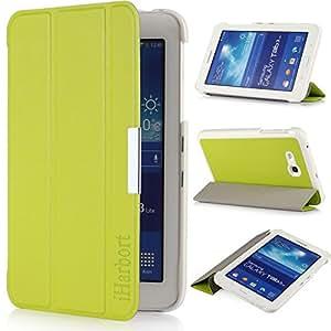 iHarbort® Premium Samsung Galaxy Tab 3 7.0 Lite 7 Zoll T110 T111 T113 T116 Leder Tasche Hülle Etui Schutzhülle Case Cover Holder (Grün)