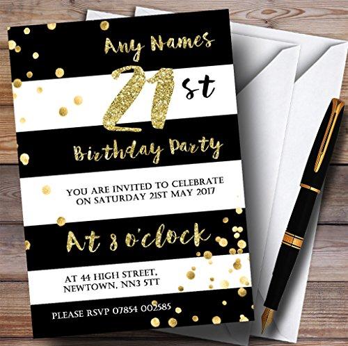 Nero & Bianco a righe oro confetti 21ST inviti per festa di compleanno,, 40 Invites & Envelopes