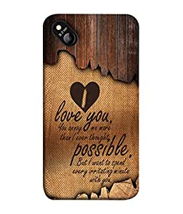 Micromax Bolt D303 Back Cover Love You You Annoy Me More I Ever Thought Design From FUSON