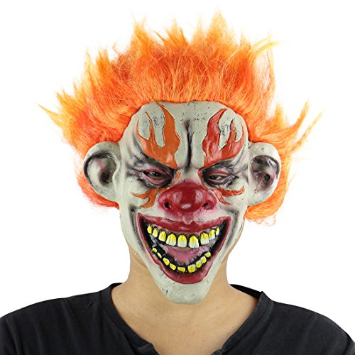 thematys Feuer Horror Clown Maske - perfekt für Fasching, Karneval & Halloween - Kostüm für Erwachsene - Latex, Unisex Einheitsgröße (Nur Für Halloween-kostüme Erwachsene)