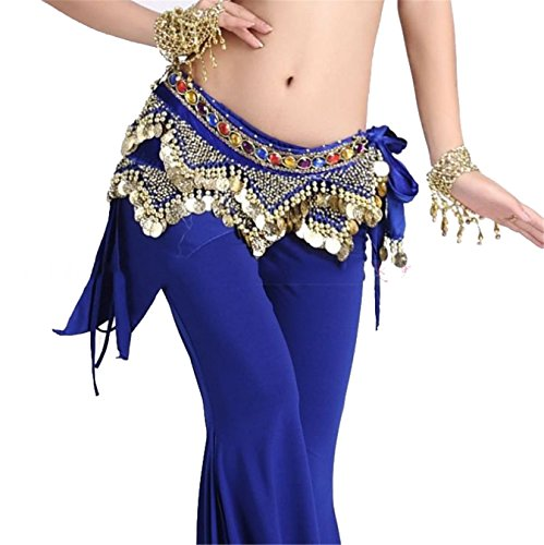 Danse du ventre costume Hip écharpe jupe Hip écharpe With 2 Rangées 248 Coins Foulard Costume Colorful Gem Ceinture Dark Blue