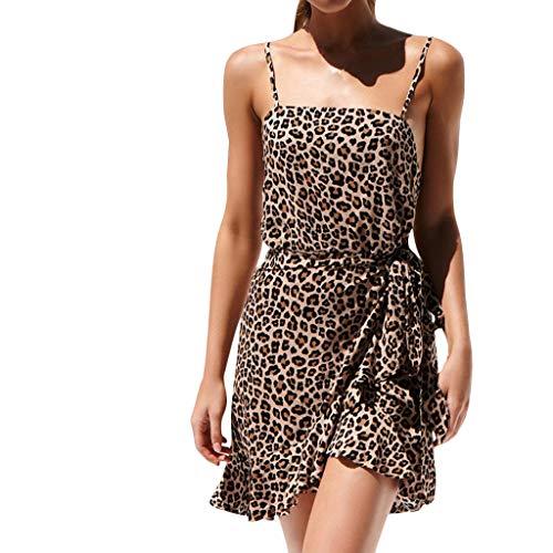 UINGKID Sommerkleid Damen Kleid Tshirt Retro Elegant Kurzarm Minikleid Kleider Sexy Mode Lace Leopard Stitching Print Casual Dress