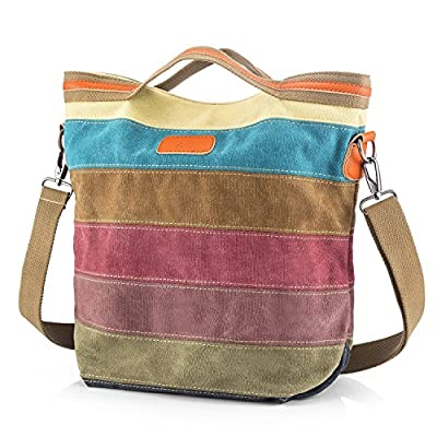 SNUG STAR Multi-Color Striped Canvas Handbag Cross Body Should Purse Bag Tote-Handbag for Women