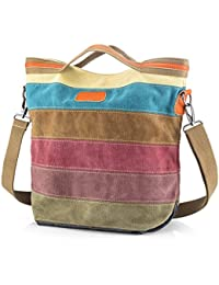 c9d5cafb7c22 SNUG STAR Multi-Color Striped Canvas Handbag Cross Body Should Purse Bag  Tote-Handbag