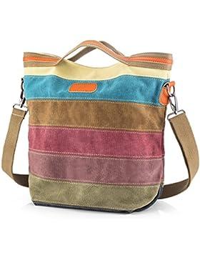 [Gesponsert]SNUG-STERN-Mehrfarbengestreifte Segeltuch-Handtaschen-Kreuzkörper sollte Geldbeutel-Tasche Tote-Handtasche für...