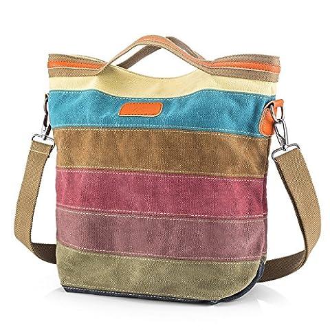 SNUG STAR Multi-Color Striped Canvas Handbag Cross Body Should Purse