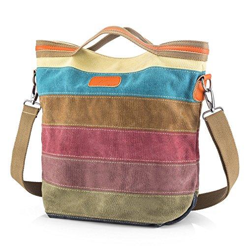 SNUG-STERN-Mehrfarbengestreifte Segeltuch-Handtaschen-Kreuzkörper sollte Geldbeutel-Tasche Tote-Handtasche für Frauen