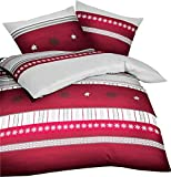 Kaeppel Biber Bettwäsche Edelweiss Kristalle Karmin Rot Grau Weiß, Größe:240x220cm Bettwäsche