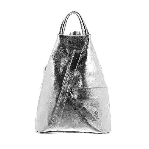 1 Silber-handtasche (IO.IO.MIO leichter echt Leder Damenrucksack CityRucksack DayPack freie Farbwahl , 27-18x30x13 cm (B x H x T) (silber))