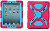 Pepkoo iPad mini Silicone Plastic Protective Dual Layer Shock Absorbing Kid- Proof shockproof Case Built in Stand Designed for the Apple iPad mini / iPad mini 2 (Pink/Blue)