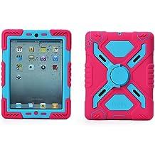 Pepkoo a prueba de choques silicona caso - Carcasa con función atril para iPad mini y iPad mini 2 - Rosa y azul