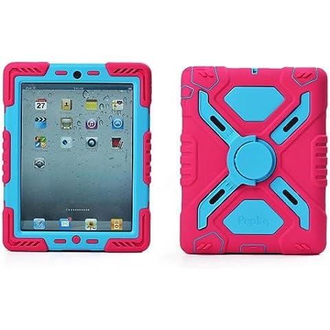 Pepkoo a prueba de choques silicona caso - Carcasa con función atril para iPad Air y iPad 5 - Rosa /