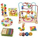 PovKeever 14 Stück Kleinkind Holzspielzeug Set, Aktivität Cube Spielzeug 3D Tier Cube Bunte Brett Gyro Whistle Clock Caterpillar Schuh Rutsche Spielzeug Set Bildung Spielzeug für Kinder Babys