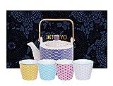 Tokyo Design Studio, Star Wave,Teekanne mit 4 Becher , 5-tlg., 0.8 L kanne, Porzellan