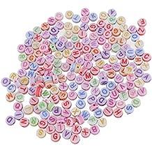 ROSENICE Cuentas acrílico abalorios separadores redondos con letras coloridas para DIY pulseras collares 200pcs de 7mm