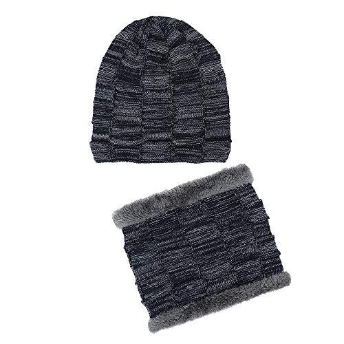 KPPONG Unisex Männer Frauen Mütze, Winter Beanie Schal Set Warme Strickmütze Mit Schal