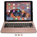 iPad Pro 12.9 Étui avec clavier, COOPER KAI SKEL A1 Coque dure avec clavier sans fil QWERTY bluetooth étui de transport avec power bank batterie pour Apple iPad Pro 12.9 (Rose d'or, Veille/Réveil)