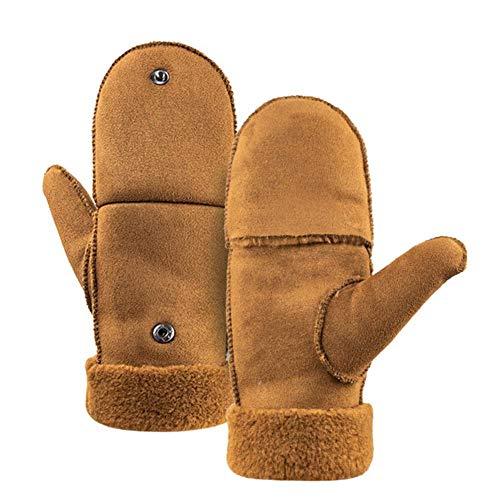 boastvi Damen Winter Fingerlose Handschuhe Winter Warme, Verdickte Flip Halbfingerhandschuhe Dual Use Cabrio Handschuhe Mit Geknöpfter Daumenabdeckung Graceful