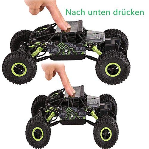 Profun 4WD Rock Crawler RC Car Geländewagen Auto 1:18 Fernbedienung Monster Truck /Off Road Fahrzeug(Grün)