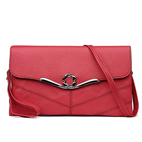 Buns Frauen Umhängetasche Kette Tasche Umhängetasche Handtasche PU-Leder Kleine Große Kapazität Handy, Red-26 * 4 * 15cm -