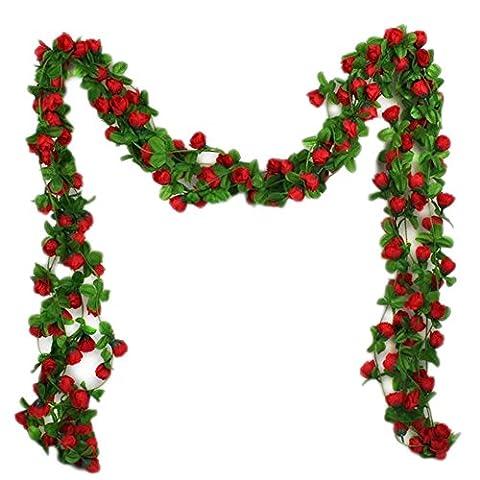 Qingsun Guirlande fleurs artificielles en soie suspendu vigne Feuilles Pour Décoration Maison Jardin Mariage Fenetre Etc
