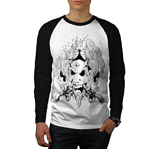 Horror Teufel Dämon Koi Fisch Herren NEU Weiß (Schwarz Ärmel) S Baseball lange Ärmel T-Shirt | (Pate Teufel)