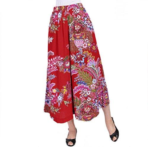 NJunicorn Uncle Damen Bequem Elastische Taille Baumwolle&Leinen Hosenrock Weite Bein Blumenmuster Lange Hose Pumphose Schlabberhose (Art 1,XL)
