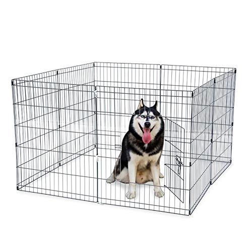 "Zikai 30"" Tall Drahtzaun Haustier Hund Katze Folding Exercise Yard 8 Panel-Metal spielen Pen Schwarz Pet Zaun Zwinger Cage-US-Aktien (Color : Preto, Size : L)"