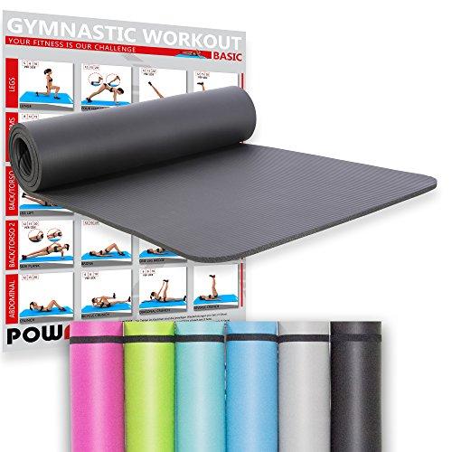 POWRX Gymnastikmatte Yogamatte inkl. Workout I Trainingsmatte Phthalatfrei 183 x 60 x 1 cm I Matte...
