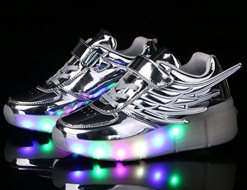 Mr.Ang Skateboard Schuhe mit LED 7 Farbe Farbwechsel Lichter blinken Räder SchuheTurnschuhe Jungen und Mädchen Flügel-Art Rollen Verstellbare neutral Kuli Rollschuh Schuhe Silber