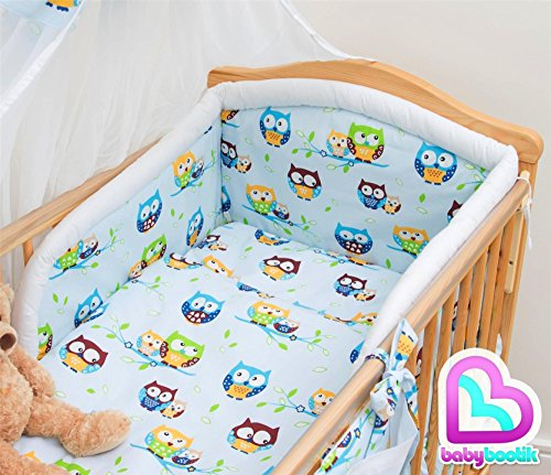 6 Pcs Baby Cot Bed Bedding, 190cm Padded Thick Bumper + Terry Sheet, 140x70 cm - Pattern 24
