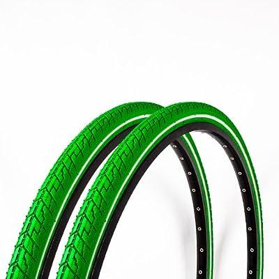 2x Dutch Perfect Fahrrad Reifen 28 x 1,5 40-622 grün Reflex Pannenschutz