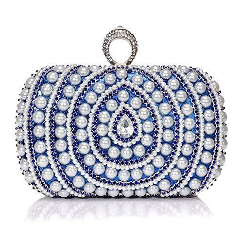 Borsa donna zaino donna borsa tracolla borsetta multifunzione sacchetto grande borse a spalla per lavoro shopping viaggio perla mano banchetto vestito borsa da pranzo blu