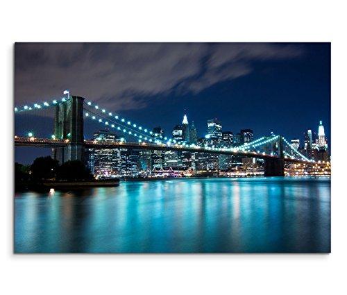 Brooklyn Bridge Lichter (120x80cm Leinwandbild auf Keilrahmen New York Brooklyn Bridge Nacht Lichter Wandbild auf Leinwand als Panorama)