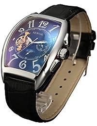 SEWOR reloj para hombre vestido automático fase de la luna mecánico correa de piel negro Dial Tourbillon (cristal azul)