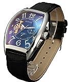 Sewor lusso uomo Tourbillon Moon Phase meccanico automatico orologio da polso con fascia in vetro rivestimento blu