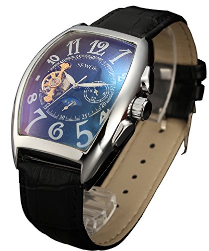 Sewor Luxury Tourbillon Mens Moon Phase Automatic Mechanical Wrist Watch Leather Band Glass Coating Blue (Silver Black)