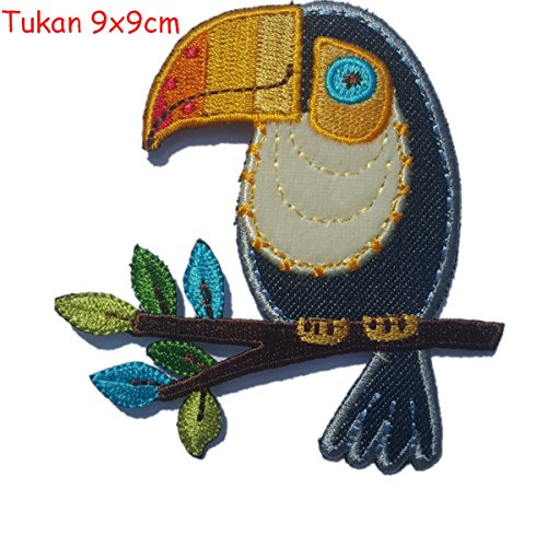 Floral Glitter-applikationen (2 iron-on patches fabric appliques Toucan 9x9 and Grasshopper 7x6cm TrickyBoo Design Zurich)