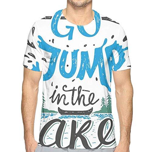 3D gedruckte T-Shirts, Weinlese-Typografie-inspirierend Zitat-See-Zeichen-Kanu-Fischen-Sport-Thema (Zeichen Inspirierende)