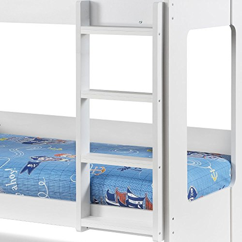 Wooden Bunk Bed with Underbed Storage Drawer, Happy Beds Ellie White Wood Modern Twin Sleeper - 3ft Single (90 x 190 cm) Frame Only