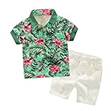 Sommer Kinderanzug Kurzärmeliges Hemd Jacke + Shorts Anzug T-Shirt Shorts Blumenmuster