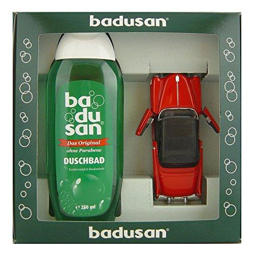 Preisvergleich Produktbild Geschenkset Badusan Duschbad 250 ml Koniferen- & Rosskastanienduft + Cadillac Eldorado 1953 in rot 1:30, ca. 12 cm lang, aus Metall
