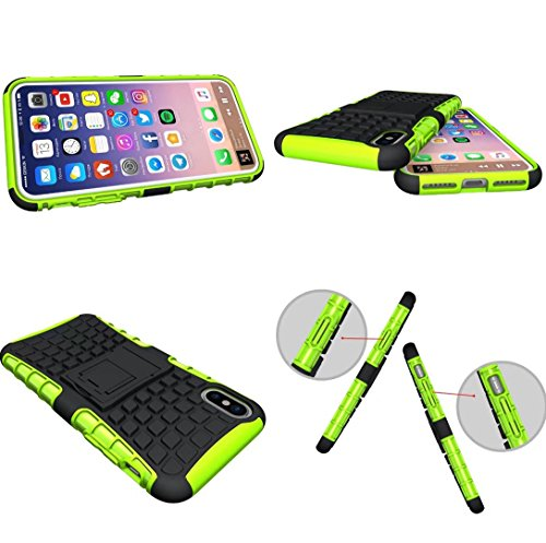 iPhone X Cover, Awesome Armor Foldable Movie Stand Slim Tire Pattern Custodia, TAITOU New Ultra Hybrid 2 In 1 Thin Anti Scratch Drop Outdoor Sport Protect Phone Cover For Apple iPhone X Purple BGreen