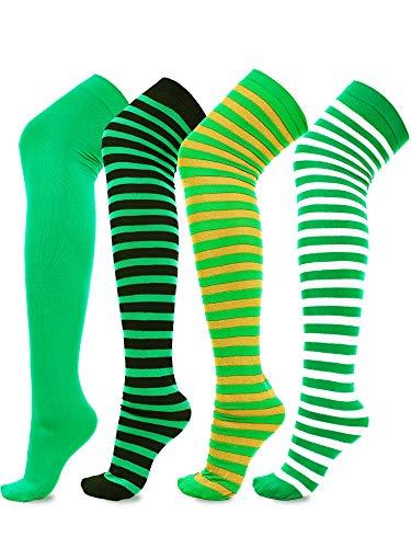 Boao Über Knie Socken Gestreifte Strümpfe Oberschenkel Hohe Socken für St. Patrick's Tag Party Vorräte, 4 Paare Total (Farbe Set 1)