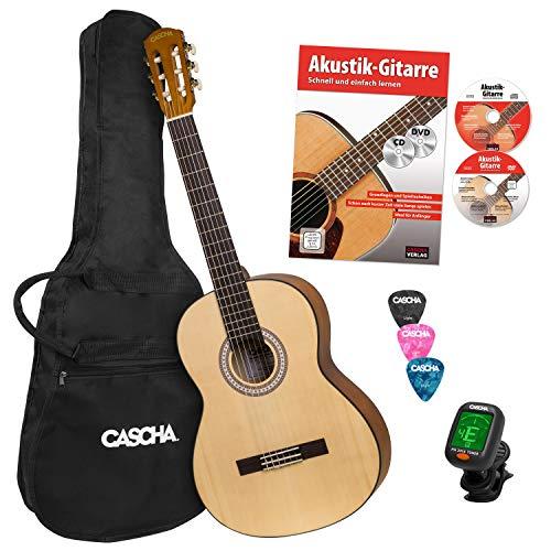 CASCHA Student Series 4/4 Konzertgitarre Einsteiger Set, inkl. Lehrbuch, Stimmgerät, Gigbag/Tasche, 3 Plektren, klassische Kindergitarre ab 10 Jahren für Anfänger, Classic Guitar, Nylonsaiten